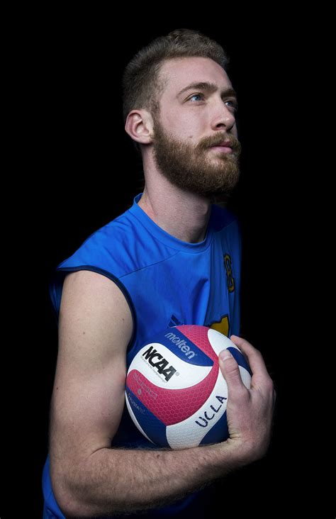 Men's volleyball player Mitch Stahl digs into Pennsylvania