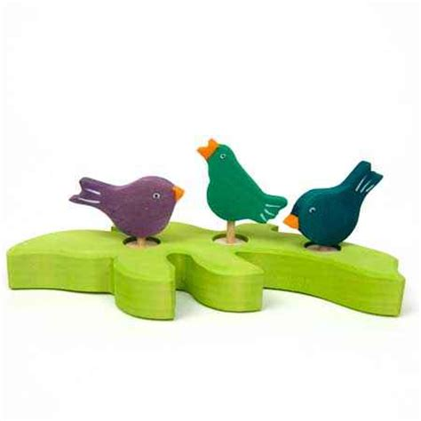 Singing Green Bird Ornament for Birthday Rings by Grimm's