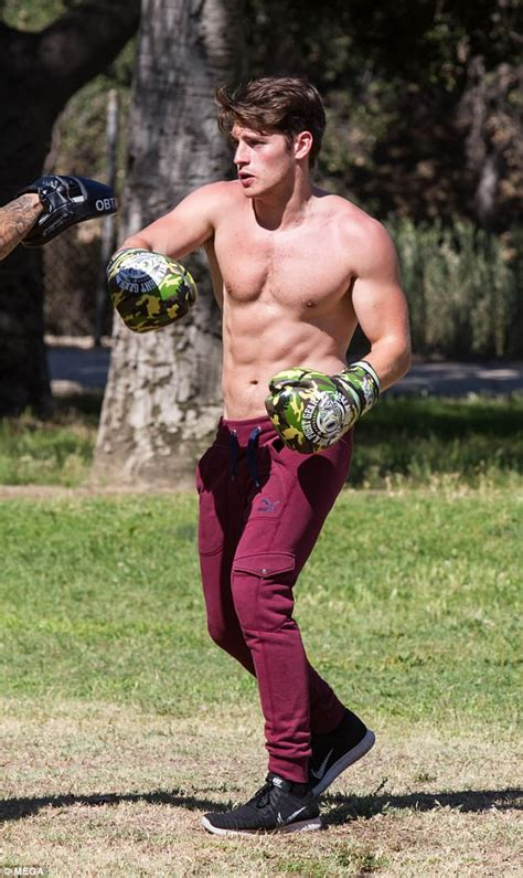 Gregg Sulkin shows off ripped torso as he works out in LA