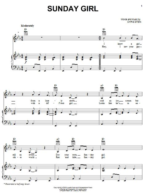 Sunday Girl sheet music by Blondie (Piano, Vocal & Guitar