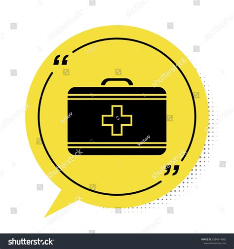 Black First aid kit icon isolated on white background